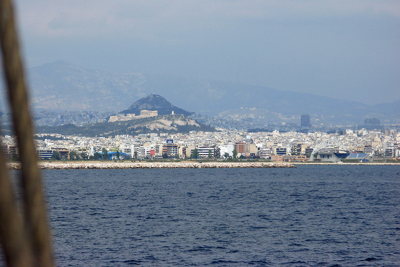 Port of Piraeus and Acropolis.  Athens is about an hour north of Piraeus so it is amazing that the Acropolis is so visibile from the water....