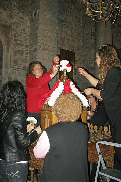 Easter decorations for Monastary.  The Greek Orothodox Easter is later than ours.  These ladies all had an opinion about how this was to be done.  A few minutes later they took it all apart and started again....