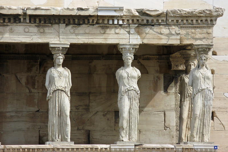Closer Look at the Caryatides on the temple of Athena