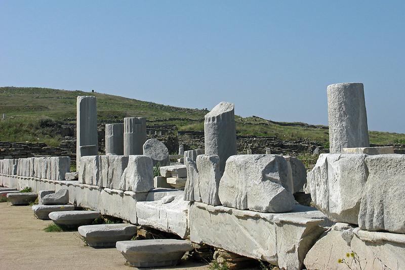 Ancient ruin of the Temple of Apollo on Delos.