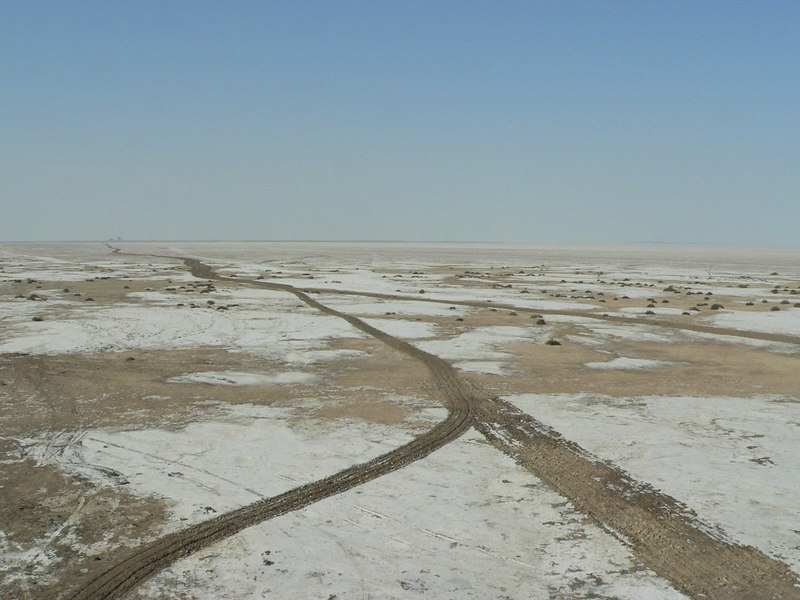 View from the tower - a few km. ahead the salt deposits are so deep that only few vehicles can navigate the terrain