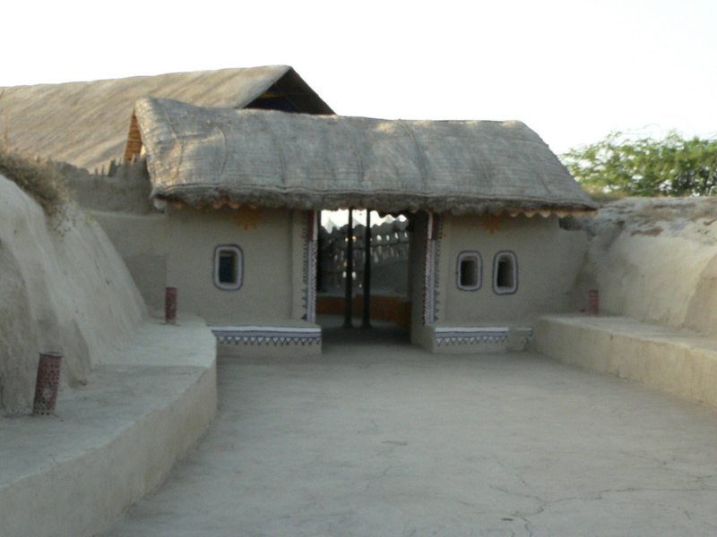 The entrance to the hodka resort. All the bhungas (huts) are constructed of wood and mud.