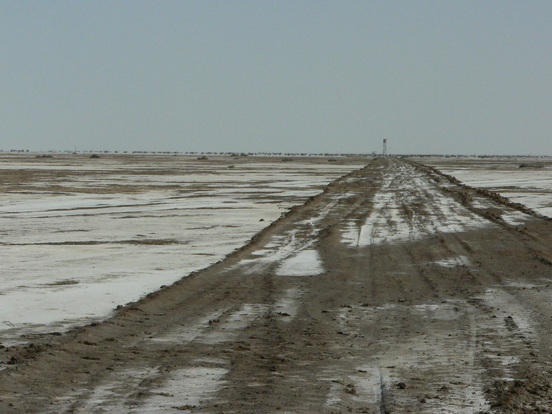 The Rann of Kutch - road to the first military outpost (seen on the horizon)