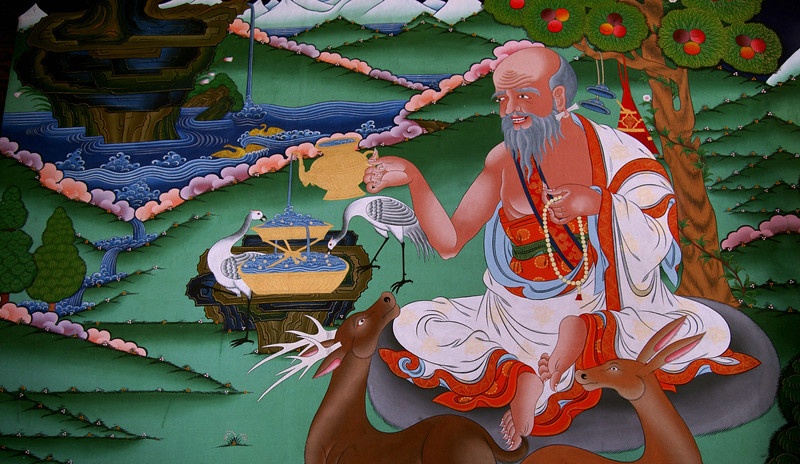 Paro Dzong fresco of Guru Rinpoche, who brought Buddhism to Bhutan.
