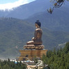 Statue in the hills above Thimphu  commemorates 100 years of rule by the Wangchuck dynasty (Wiki).