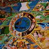 Buddhist mandela fresco at Paro Dzong.