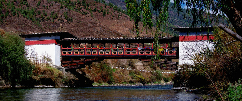 Cantilevered bridge in Thimphu.