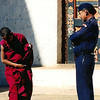 Monk and guard in Punakha Dzong.