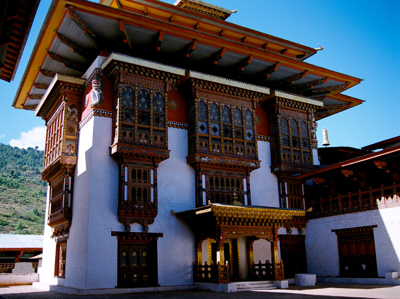 Restored courtyard in Panakha Dzong, damaged in the 1994 flood.