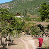"Monk walking from Chimi Lhakhang (""Temple of the Divine Madman"") outside Punakha"