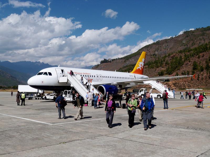 Arrival in Bhutan - Druk Air, Royal Bhutan Airlines