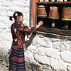 Spinning prayer wheels at Jambey Lhakhang Drub Festival