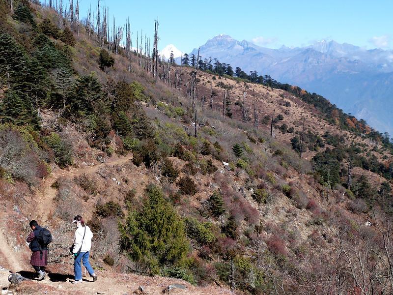 Jeane and our guide, Sonam on hike from Chele La to Kila Nunnery