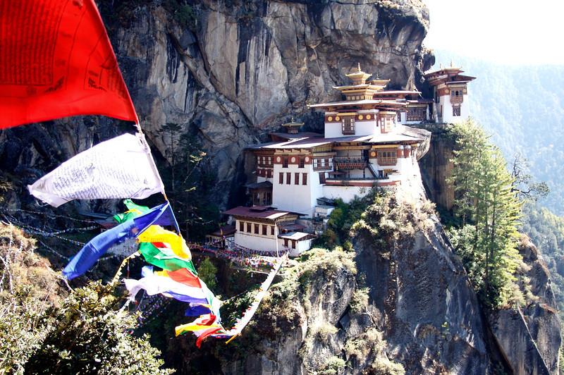 Taktsang Monastery with prayer flags