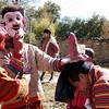 """""""Clown"""" blessing Sonam, our guide at Prakhar Lhakhang Festival"""