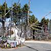 Roadside stupa and prayer flags and stupa near Jakar, Bumthang Valley