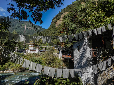 At the entrance to Jigme Dorji National Park.
