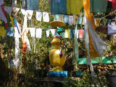 Prayer flags and chorten.