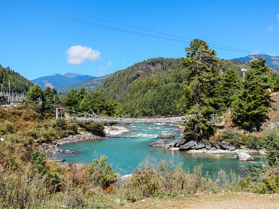 Suspension bridge over the Bumthang River.