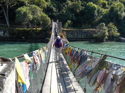 Suspension bridge crossing...