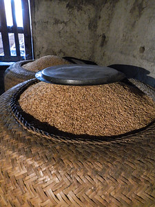 Hand woven baskets and rice.