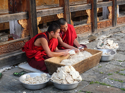 Monks at work.
