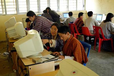 Computer room at National Institute Education (NIE), Samtse, Bhutan