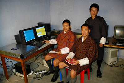 Server and Admin staff along with Sangay Jamtsho in the server room at National Institute Education (NIE), Samtse, Bhutan.