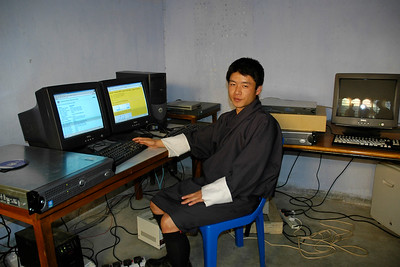 Server and Admin staff in the server room at National Institute Education (NIE), Samtse, Bhutan