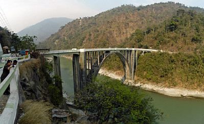 Bridge built by India to go between Samtse. Bhutan and India. Near Gangtok, India