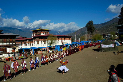 Paro Tsechu Festival of Dance held in Paro, Bhutan. This is the biggest and most spectacular Buddhist festival celebration.