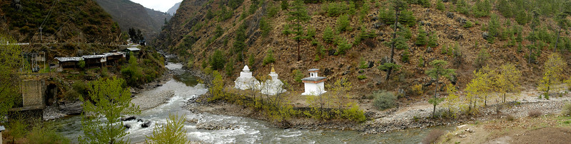 Chhuzom - Paro Chhu where the Paro and Thimphu river meets is Chuzom - The Three Chortens.