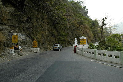 Road near the bridge built by India to go between Samtse. Bhutan and India. Near Gangtok, India. BRO Project Dantak