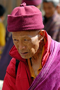 Old monk in Paro, Bhutan. South Asia.