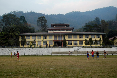 Sport being played on the grounds in front of the main building of National Institute Education (NIE), Samtse, Bhutan