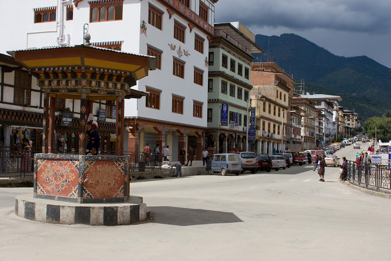 Thimpu Main Street. Thimpu is the only National Capital in the World without a Traffic Light. Kiosk at Left Has the City's Only Traffic Cop.