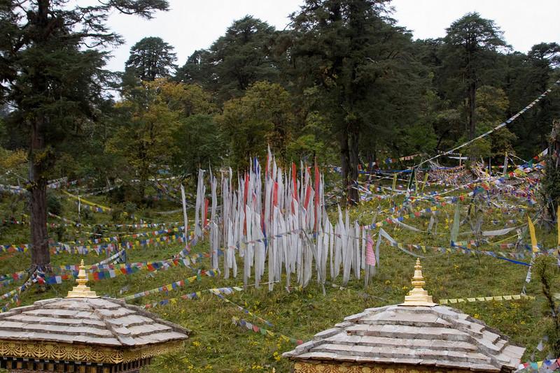 Dochu La Pass. Uniquely Bhutanese Prayer Flags.