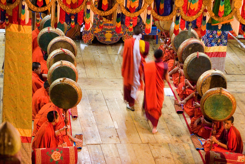 Paro Dzong. Rare Photo of the Black Ceremony