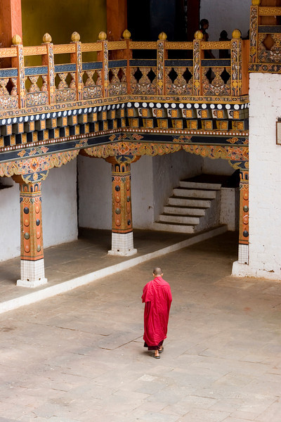 Punakha Dzong. Monk in Courtyard