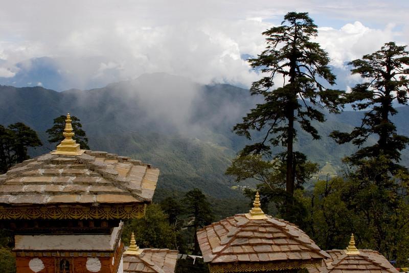 Dochu La Pass. Himalayas in the background