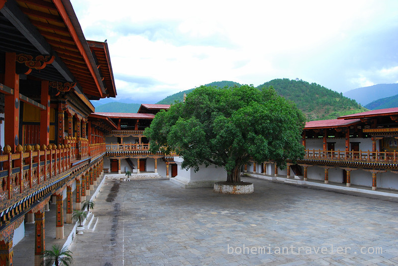 The inner courtyard of Punakha Dzong.