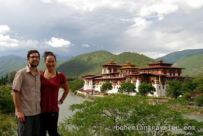Stephen an Juno at Punakha Dzong.