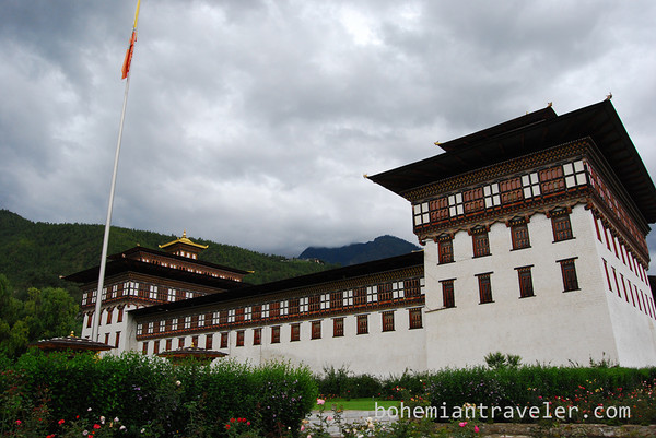 Exterior of Tashichho Dzong in Thimphu.