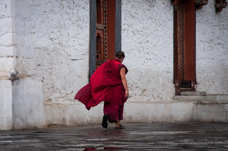 A monk at Tashichho Dzong
