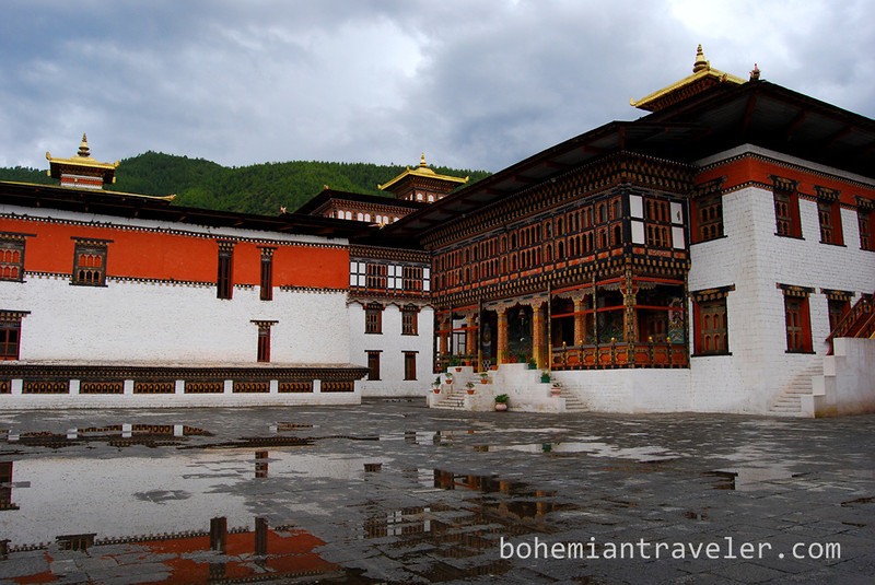 Tashichho Dzong in Thimphu, Bhutan, after a rainfall.