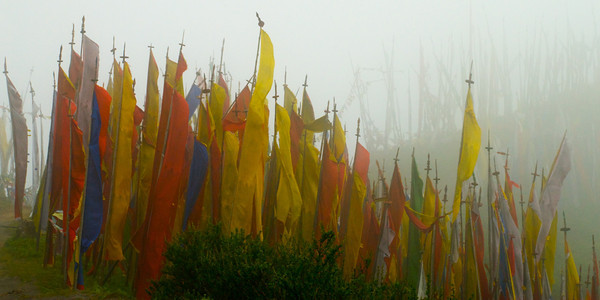 Misty Mountaintop Prayer Flags Bhutan