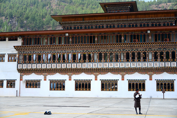 The pretty Paro airport  - passengers just milled around on the tarmac taking photos