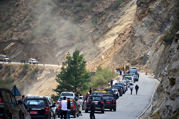We were told that 'unexpected stuff' always happens in Bhutan - we were greeted with a landslide!