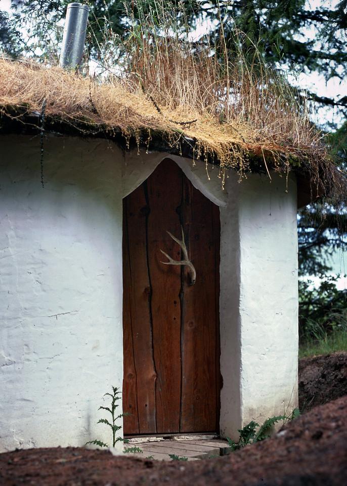 Detail, yurt door. Hans' handmade cabin near Upper Arrow Lake, British Columbia.