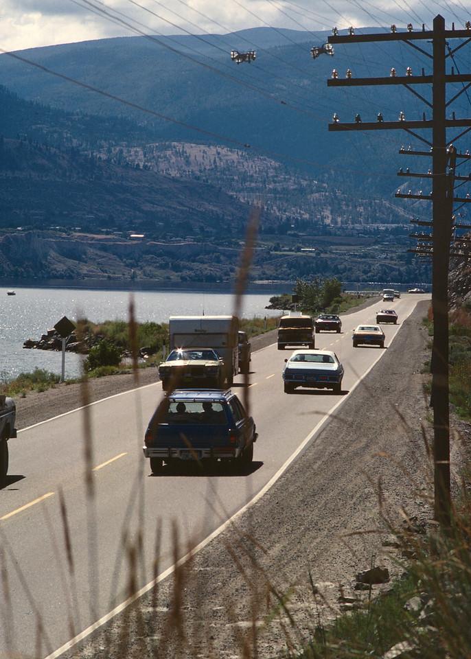 Traffic on Highway 97 in British Columbia's Okanagan Valley between Vernon and Penticton.